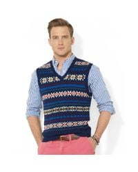 Polo Ralph Lauren - Blue Fair Isle V-Neck Vest for Men - Lyst