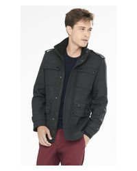 Express | Gray Wool Blend Four-pocket Military Coat for Men | Lyst