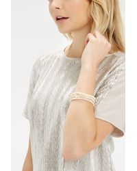 Oasis | Natural Pretty Multi Row Facet Stretch Wristwear | Lyst