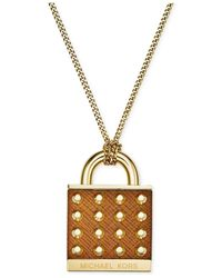 Michael Kors | Metallic Gold-Tone Luggage Astor Padlock Necklace | Lyst