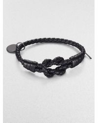 Bottega Veneta - Black Intrecciato Knotted Leather Bracelet - Lyst