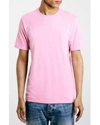 TOPMAN Pink Slim Fit Crewneck T-Shirt for men