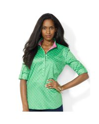 Lauren by Ralph Lauren | Green Rolltabsleeve Printed Sateen Blouse | Lyst