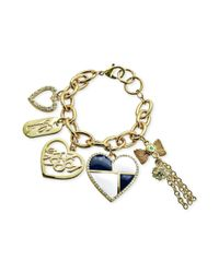 Guess - Metallic Goldtone Heart and Logo Charm Bracelet - Lyst