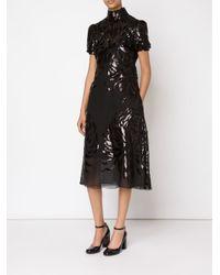 Rochas - Black Shortsleeved Brocade Dress - Lyst