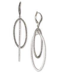 Judith Jack - Metallic Rhodium-Plated Marcasite Orbital Oval Drop Earrings (1-1/10 Ct. T.W.) - Lyst