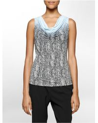 Calvin Klein | Blue White Label Ombre Animal Print Cowl Neck Sleeveless Top | Lyst