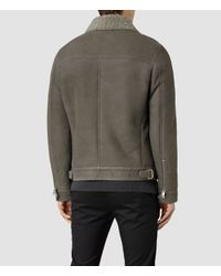 AllSaints | Gray Pilot Shearling Jacket for Men | Lyst