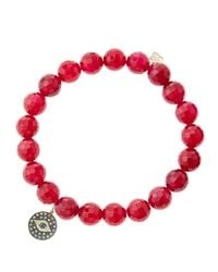 Sydney Evan | 8Mm Faceted Red Agate Beaded Bracelet With 14K Gold/Diamond Bee Charm (Made To Order) | Lyst