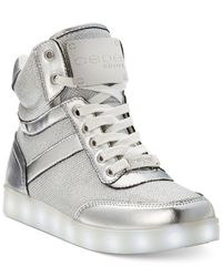 Bebe | Metallic Sport Krysten High Top Light Up Sneakers | Lyst