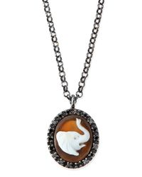 Amedeo | Gray Hand-carved Elephant Cameo Necklace | Lyst