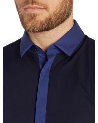 HUGO - Blue Edinburgh Contrast Plackett Slim Fit Shirt for Men - Lyst