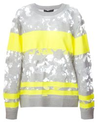 Alexander Wang | Gray Burn Out Wool-Blend Sweater | Lyst