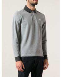 Moncler - Gray Contrasting Collar Polo Shirt for Men - Lyst