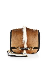 Jimmy Choo Brown Gazelle Hair Crocodile Leather Flap Bag
