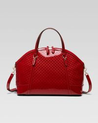 Gucci - Red Nice Large Microssima Patent Leather Top Handle Bag - Lyst