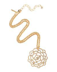 Oscar de la Renta | Metallic Golden Swarovski Crystal Pavé Flower Brooch | Lyst