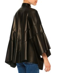 Valentino - Black Arched Leather Poncho Jacket - Lyst