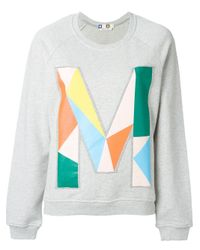 MSGM | Gray M Embroidered Sweatshirt | Lyst