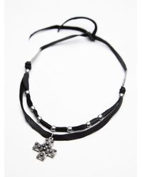 Free People | Black Heyoka Leather X Womens Nila Leather Cross Choker | Lyst