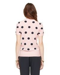 kate spade new york | Pink Intarsia Dot Sweater | Lyst