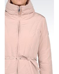 Armani Jeans | Pink Down Jacket In Technical Fabric With Belted Waist | Lyst