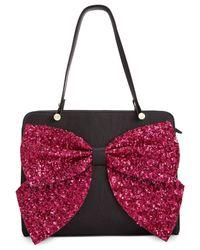Betsey Johnson | Black Macy's Exclusive Sequin Bow Satchel | Lyst