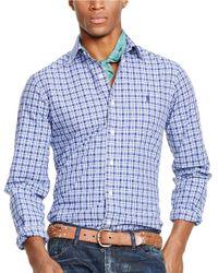 Polo Ralph Lauren | Blue Plaid Poplin Shirt for Men | Lyst