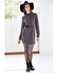 BDG - Gray Drapey Buttondown Shirtdress - Lyst