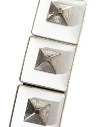 Toga - Black Square Pyramid Leather Bracelet - Lyst