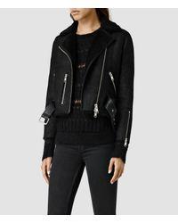 AllSaints - Black Merino Lands Biker Jacket - Lyst