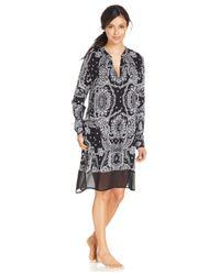 DKNY | Black Bandana Print Long Sleeve Sleepshirt | Lyst