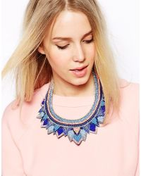 ASOS | Blue Layered Triangle Bib Necklace | Lyst