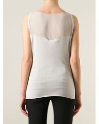 Armani - Gray Sheer Detail Tank Top - Lyst