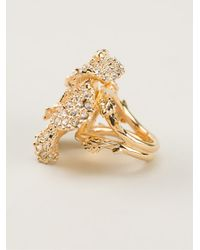 Alexander McQueen - Metallic Flower Ring - Lyst