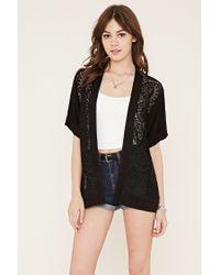 Forever 21 | Black Crochet-paneled Kimono | Lyst