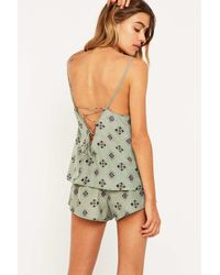 Urban Outfitters | Green Print Pyjama Shorts | Lyst