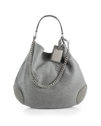 Ralph Lauren Collection - Gray Cashmere Leather Hobo Bag - Lyst