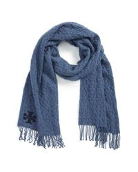 Tory Burch | Blue 'whipstitch T' Merino Wool Scarf | Lyst