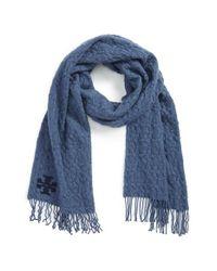 Tory Burch - Blue 'whipstitch T' Merino Wool Scarf - Lyst