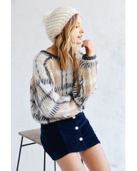 Urban Outfitters - White Faux Fur Pompom Beret - Lyst