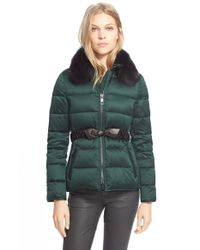 Burberry Brit | Green Belted Down Jacket With Genuine Fox Fur Collar | Lyst