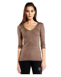 Michael Stars | Brown Shine 3/4 Sleeve Doubled Front V-neck | Lyst