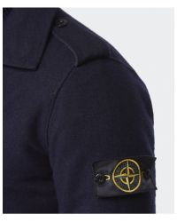 Stone Island - Blue Double Breasted Wool Coat for Men - Lyst