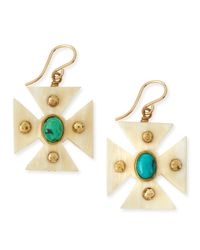 Ashley Pittman - Blue Araba Light Horn Turquoise Maltese Cross Earrings - Lyst