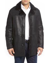 Andrew Marc - Black 'gloucester' Genuine Shearling Car Coat for Men - Lyst