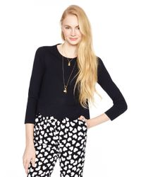 kate spade new york | Black Ponte Scallop Crop Top | Lyst