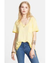 Free People | Yellow '757' V-neck Short Sleeve Tee | Lyst