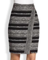 L'Agence - Black Tribal Stripe Wrap Skirt - Lyst