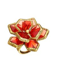 Oscar de la Renta | Red Wild Flower Ring | Lyst